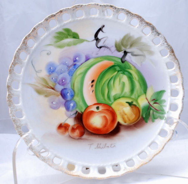 Fruit Decor Pierced  Porcelain Plate, Hand painted and Signed.