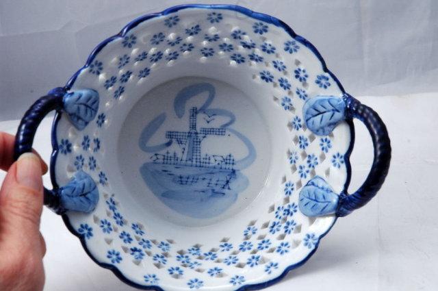 Delft Porcelain Pierced Work Bowl