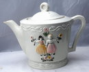 Old  Porcelier Dutch Tea Pot  large heavy Vitreous China,