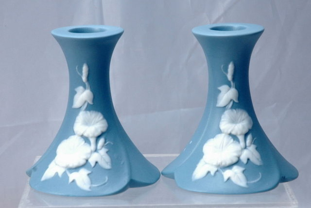 Blue Jasperware Morning Glory Candlestick Holders , pair   **PRICE REDUCTION**!