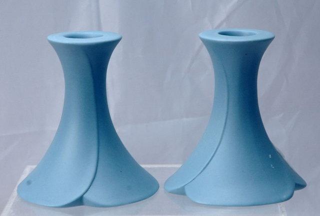 Blue Jasperware Morning Glory Candlestick Holders , pair   **PRICE REDUCTION**!