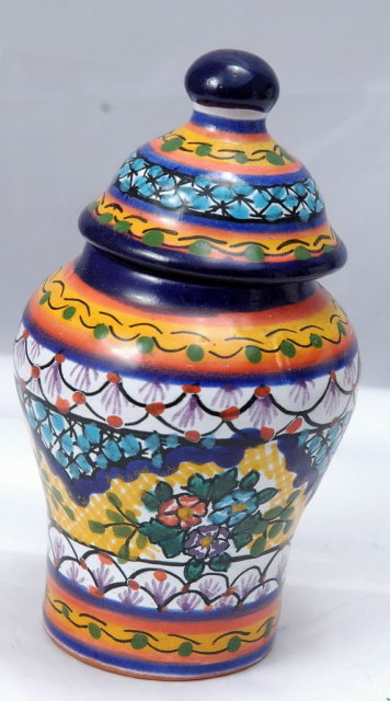 MexicanTalavera  Pottery Small Lidded Urn