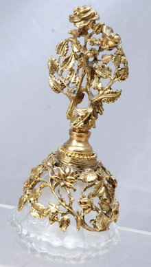 Dresser Perfume Bottle with Metal Florals & Vines & Stopper