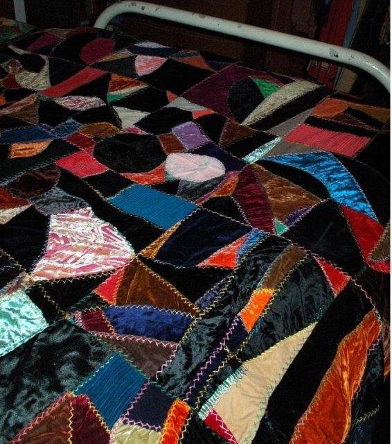 Vintage Velvet Crazy Quilt Top