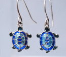 Blue Cloisonne  / Silver Turtle Dangle Earrings