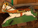 Wood Carousel Horse Painted Wood, Stand for Child's Play