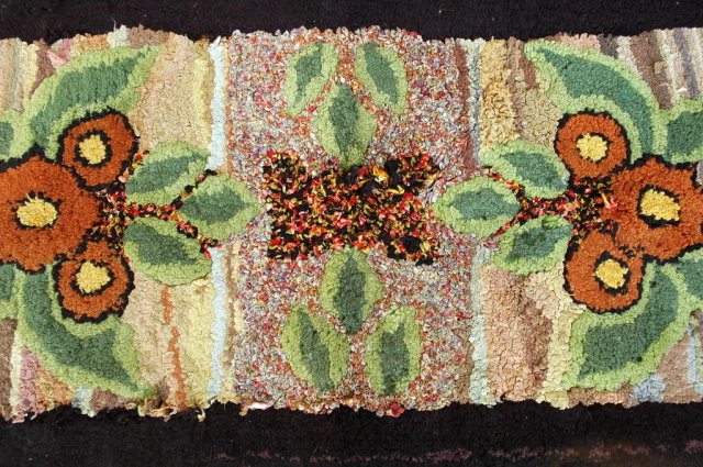 Hand Made Hooked Rug   Antique Wool and Rags  American Folk Art
