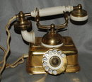 Antique Kjobenhavns Brass & Bakelite Cradle Telephone made in Denmark