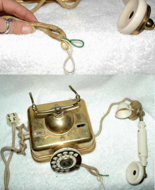 Antique Kjobenhavns Brass & Bakelite Cradle Telephone made in Denmark