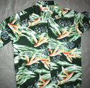 Flying Fish Print Classic Hawaiian Shirt  by  Pineapple Juice Classics    LARGE  Green & Orange