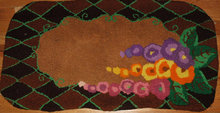 Vintage Hand Made Wool Hooked Rug Thick Plush High Pile