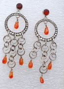 Carnelian & Sterling Silver Lori Bonn  Chandelier  Dangle Earrings  * PRICE REDUCED !*