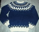 Icelandic Wool Ski Sweater, Hand Knit Blue and White Gray  LARGE