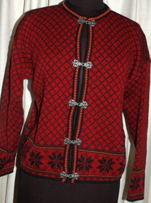 Norwegian Cardigan Sweater, Norsk Wear, 100% fine  wool Ladies Small