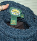 Irish Fisherman's  Sweater  Pure Wool Cable Knit   sz  Large Sapphire Blue  *PRICED REDUCED*