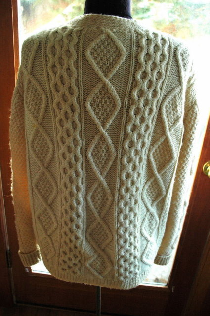 Irish Fisherman's  Cardigan Sweater  Pure Wool Cable Knit    VINTAGE sz Large