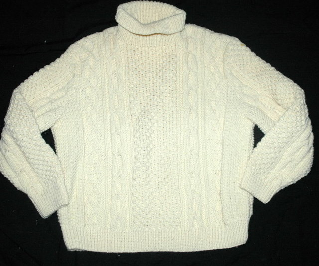 Irish Fisherman's  Aran  Sweater Hand Knit Pure Wool Turtle Neck Pull Over