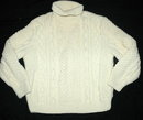 Irish Fisherman's  Aran  Sweater Hand Knit Pure Wool Turtle Neck Pull Over