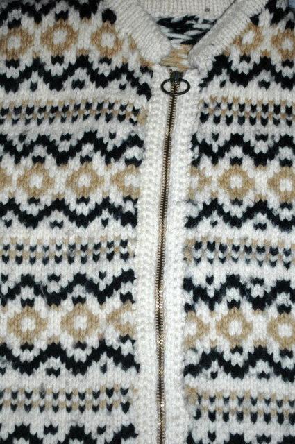 Vintage Hand Knit Scandinavian Zip Up an  Sweater Medium Cardigan