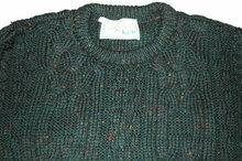 Peacock Green Flecked Irish Fisherman's Sweater Made in Ireland size Large  *  PRICE REDUCED !*
