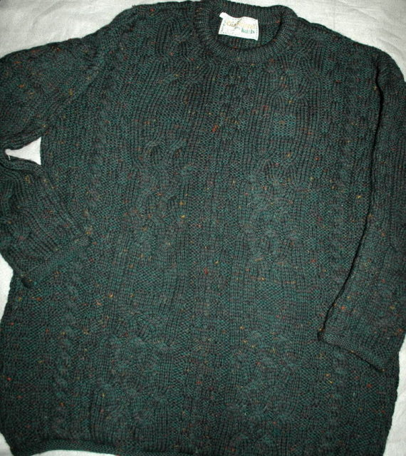 Peacock Green Flecked Irish Fisherman's Sweater Made in Ireland size Large  *  PRICE REDUCED !*