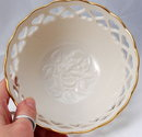 LENOX  Porcelain Pierced Hearts Bowl with Rose Inside