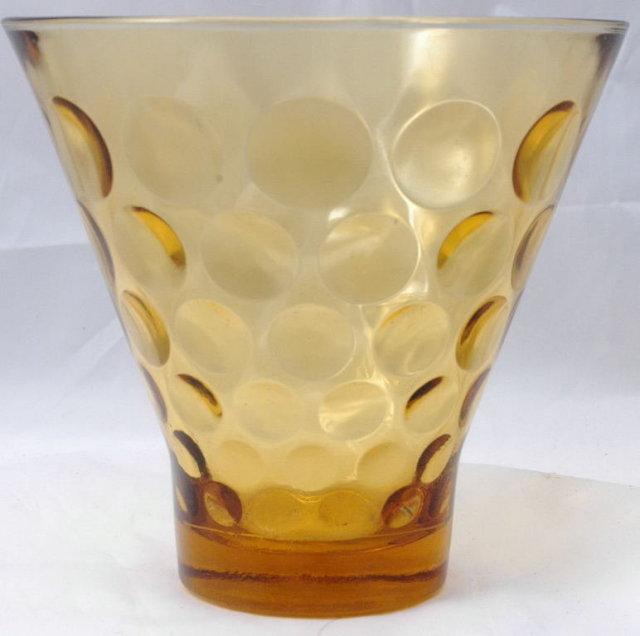 Honey Amber Glass Bubble Dot   Vase
