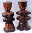 Burl Wood Candlestick Holders Hand Turned