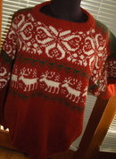 Norwegian  Sweater, Handknit Wool by Saga with Reindeer  sz XL