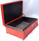 Old Japanese Cinnabar Paint Silver Metal Tobacco Box  Wood Lined * PRICE REDUCED!
