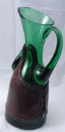 Italian  Hand Blown Green Glass   Pitcher with Leather Wrap  & Silver Coin