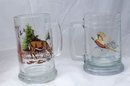 2 Hunting Wilderness Scene Glass Beer Steins