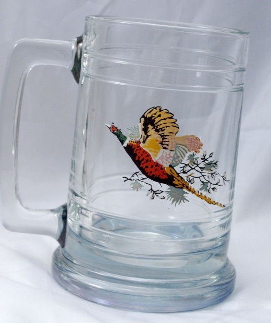 2 Hunting Wilderness Scene Glass Beer Steins