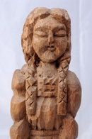 Native American Wood Carving of Old Woman with Burden