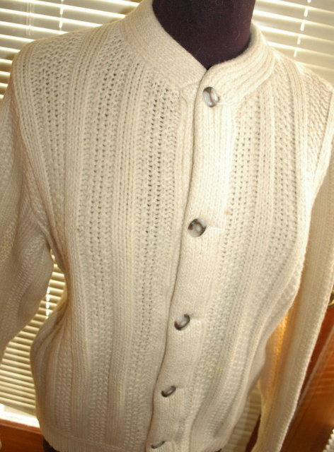 Vintage Irish Fisherman's Wool Hand Knit Cardigan Sweater  Ladies Med