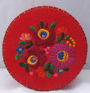Hungarian   Matyo style Embroidered Wool Felt Box, Container