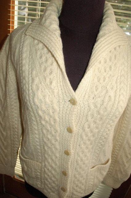 Vintage Irish Fisherman's Aran Knit Sweater by Mairtin Standun with Shawl colar
