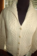 Vintage Irish Fisherman's Aran Knit Sweater by Mairtin Standun with Shawl colar