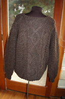 Brown Orvis Cable Knit -Irish Fisherman Sweater size 44