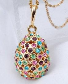 Egg Pendant Colorful Rhinestone Encrusted 2