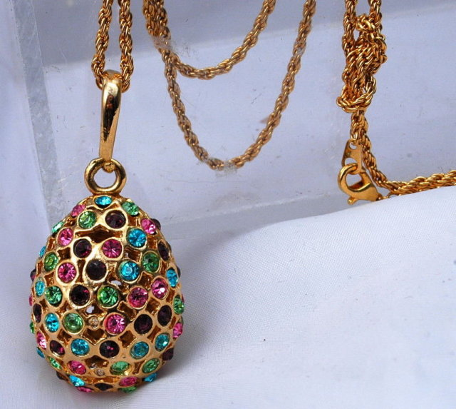 Egg Pendant Colorful Rhinestone Encrusted 2