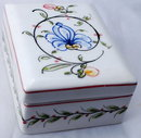 Hand painted Portuguese Porcelain Box,  signed  numbered Anfora Agueda