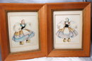 Pair of Dancing Dutch Girl  Watercolor Paintings    de Cillia 1951
