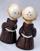 Old Monk Salt & Pepper Shakers  (skinny Monks)