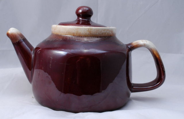 Old McCoy Brown Drip Glaze Teapot