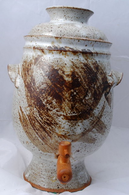 Stoneware Pedestal Iced Tea Dispenser Hand Crafted Pottery  Retro Pottery  **PRICE REDUCTION**!