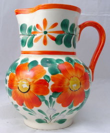 Czechoslovakia Hand painted Pottery Peasant Art Pitcher  **PRICE REDUCED!**