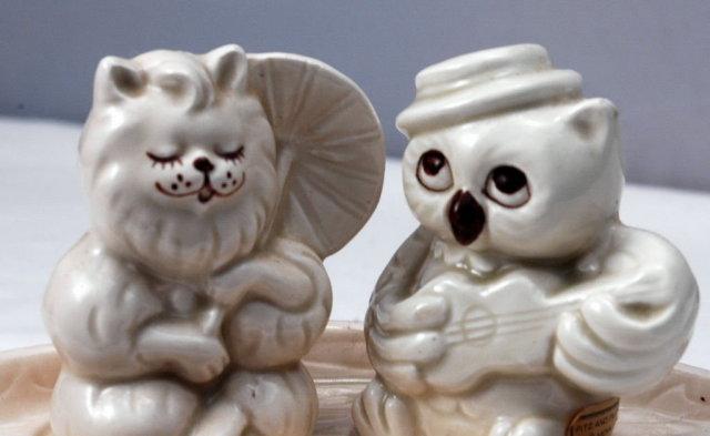 Owl & Pussycat Fitz & Floyd Salt Pepper Set in Boat