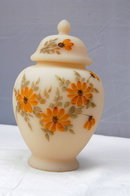 Fenton Satin Custard Glass Temple Jar with Lid, Hand painted and signed