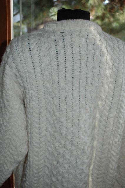 Cladurknit Irish Fisherman Traditional  Aran Cable Knit Wool Sweater SZ L